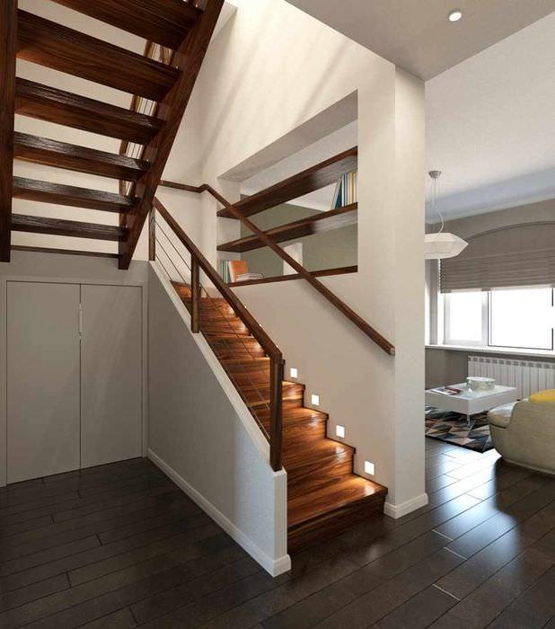 вариант светлого дизайна лестницы