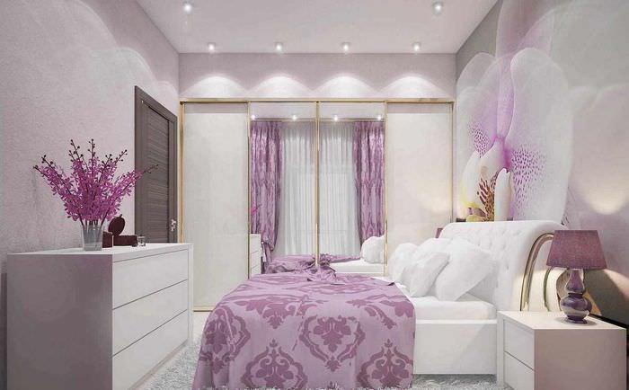 вариант яркого стиля спальни