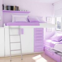 пример яркого стиля спальни для девочки картинка
