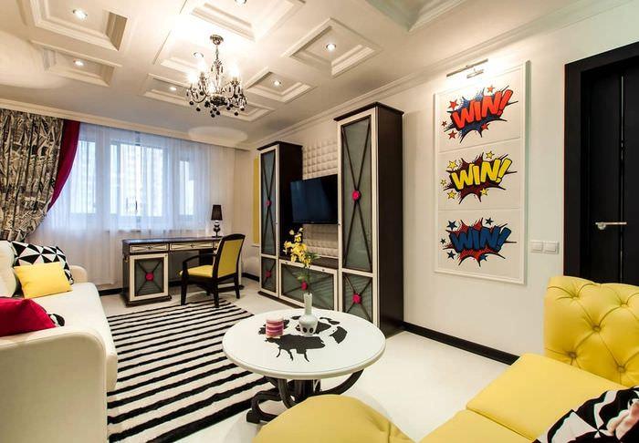пример яркого дизайна дома в стиле поп арт