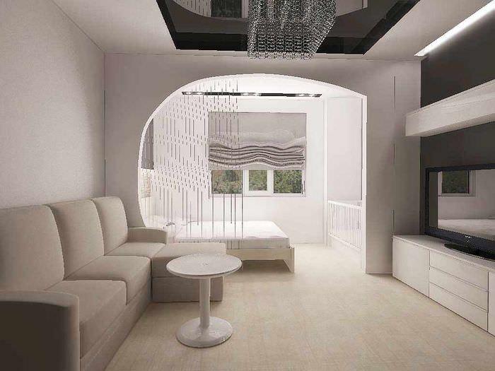 вариант необычного интерьера гостиной спальни 20 метров