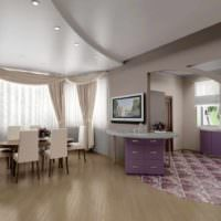 пример необычного стиля потолка на кухне фото