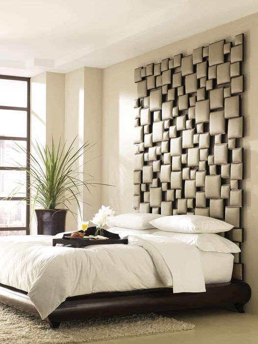 идея яркого дизайна изголовья кровати