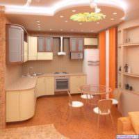вариант яркого интерьера потолка кухни картинка