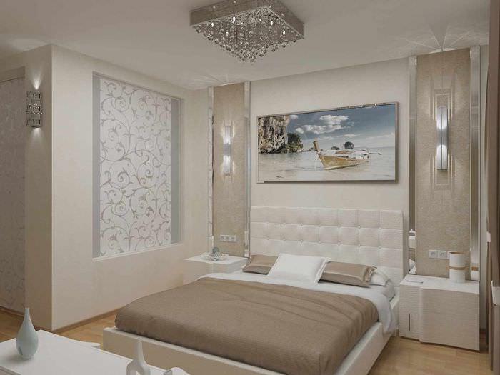 вариант светлого проекта дизайна спальной комнаты