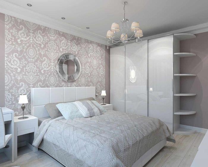 вариант необычного проекта интерьера спальной комнаты