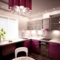 вариант красивого стиля окна на кухне картинка