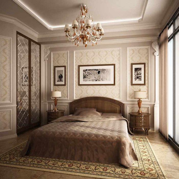 пример яркого оформления декора стен в спальне