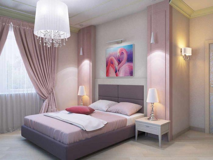 пример яркого украшения стиля стен в спальне