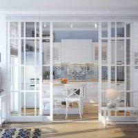 пример использования перегородки в декоре квартиры картинка