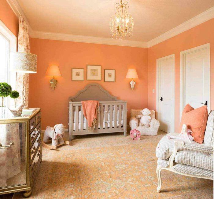 идея сочетания светлого персикового цвета в интерьере квартиры