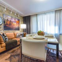 пример сочетания яркого персикового цвета в интерьере квартиры фото