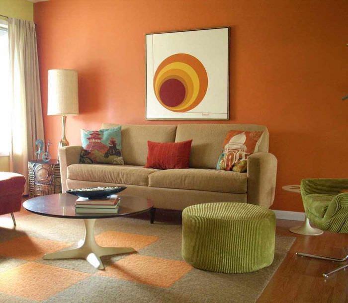 вариант сочетания красивого персикового цвета в интерьере квартиры