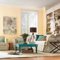 вариант сочетания красивого персикового цвета в дизайне квартиры фото