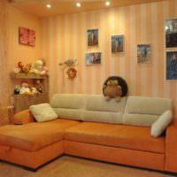 пример сочетания необычного персикового цвета в дизайне квартиры картинка