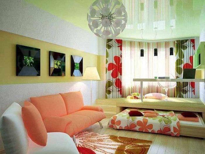 вариант яркого стиля спальни 20 метров