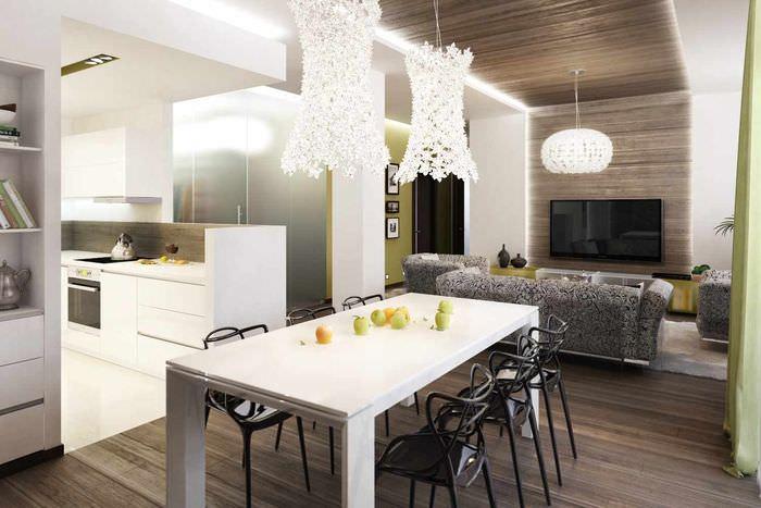 вариант светлого стиля проходной гостиной