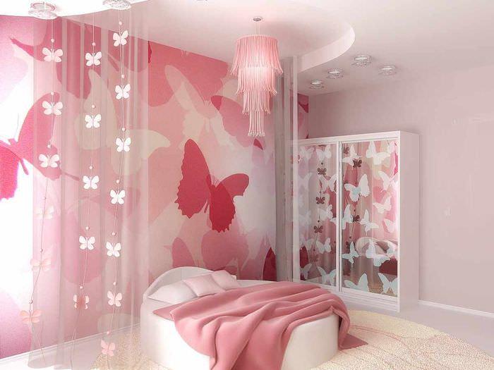 вариант светлого дизайна спальни для девочки