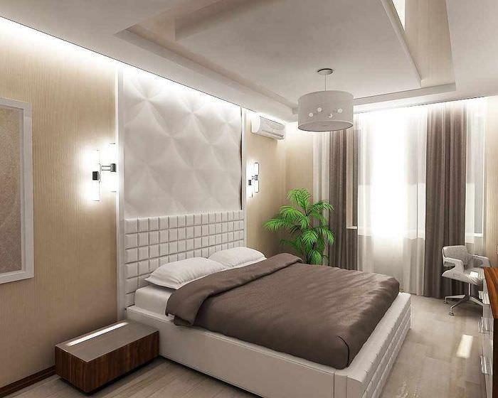 пример яркого проекта интерьера спальной комнаты