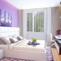 пример светлого проекта интерьера спальни фото