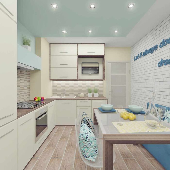 вариант красивого проекта интерьера кухни
