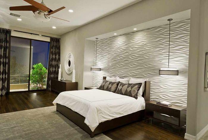 пример необычного проекта дизайна спальной комнаты