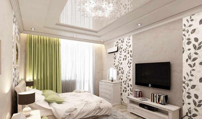 вариант светлого дизайна гостиной спальни 20 метров