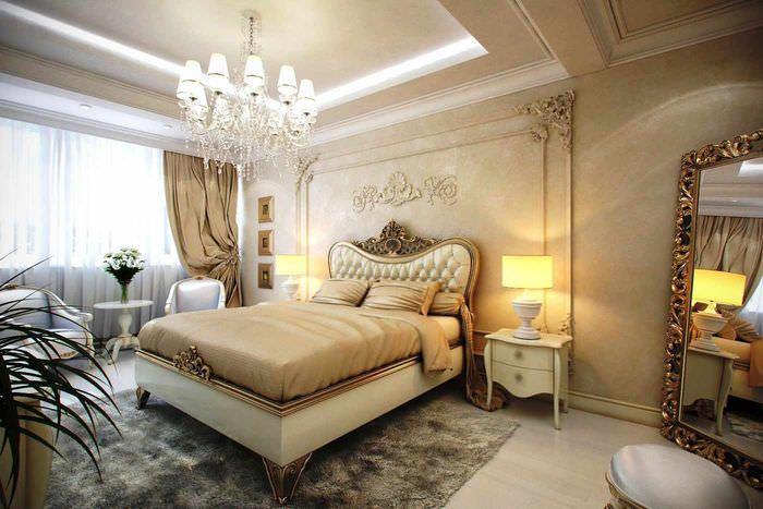 пример светлого оформления декора стен в спальне
