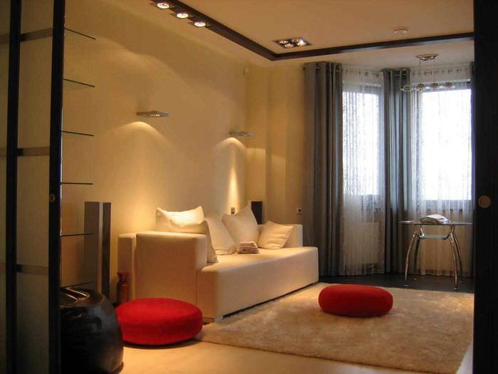 вариант светлого стиля гостиной спальни 20 метров