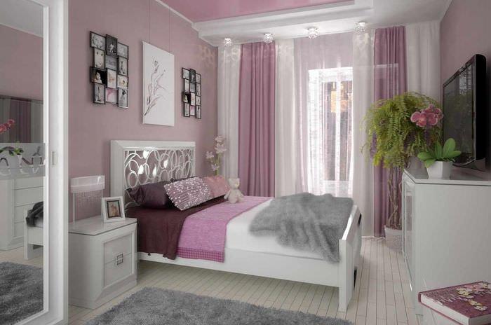 вариант яркого дизайна спальной комнаты