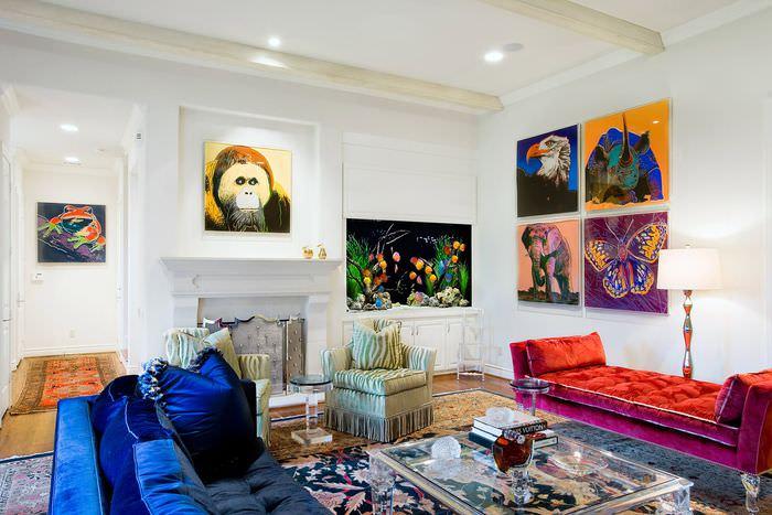 вариант необычного декора дома в стиле поп арт