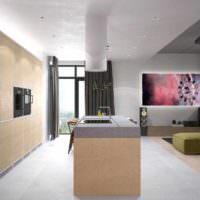 пример яркого дизайна потолка на кухне картинка