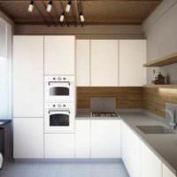 вариант светлого дизайна потолка кухни фото
