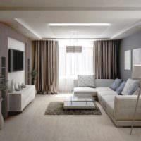 пример светлого дизайна гостиной фото