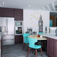 вариант необычного проекта дизайна кухни фото