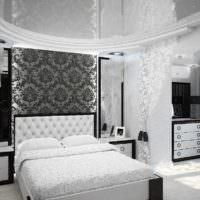 вариант необычного проекта интерьера спальной комнаты фото