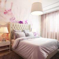 вариант светлого проекта интерьера спальной комнаты фото