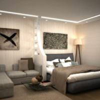 пример светлого дизайна гостиной 20 метров фото