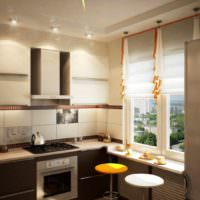 идея необычного стиля окна на кухне картинка