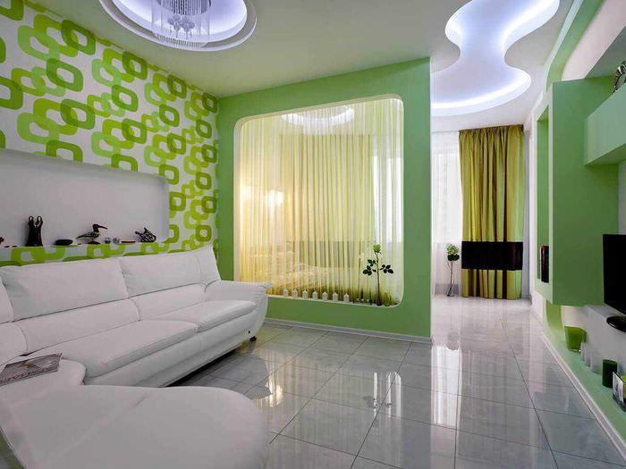 вариант яркого интерьера гостиной спальни 20 метров