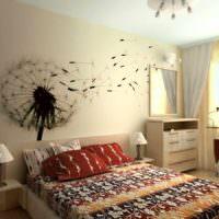 идея светлого украшения декора стен в спальне картинка