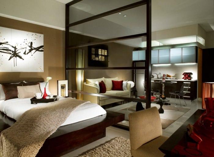 Разделение квартиры-студии на гостиную и зону для сна