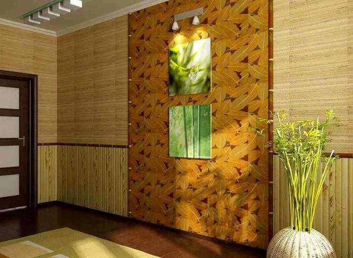 Бамбуковые обои в интерьере гостиной комнаты