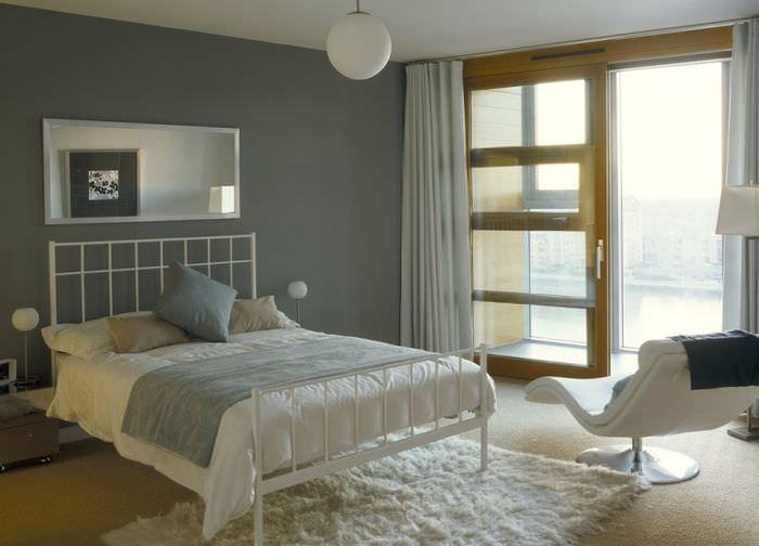 Интерьер однокомнатной квартир в серых тонах
