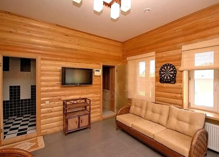 Блок-хаус в интерьере частного дома
