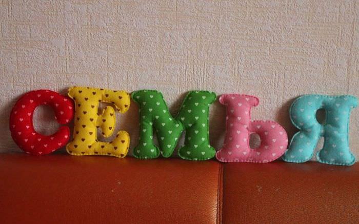 Буквы из ткани для украшения интерьера своими руками