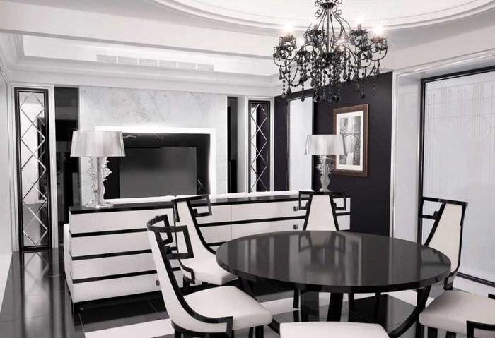 Дизайн кухни-гостиной в черно-белых оттенках