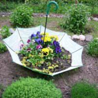 Садовая клумба из старого зонта