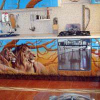 Аэрография на фасаде кухонного гарнитура