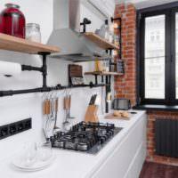 Кирпичная кладка в интерьере кухни
